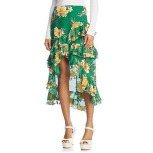Alice + Olivia Sasha Asymmetric Ruffle Skirt